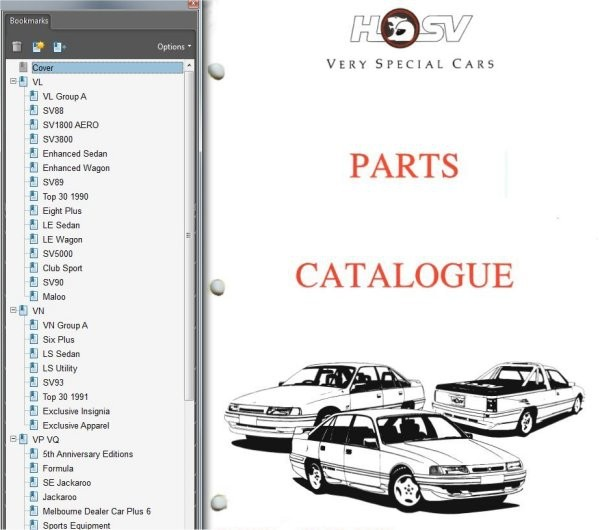 HSV VL VN VP PARTS BOOK CATALOGUE