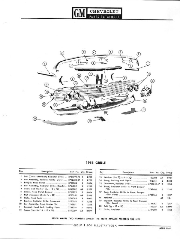 1958 - 1967 Chevrolet Chevy Parts and Illustration Catalogue
