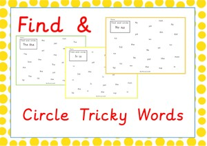 Find and Circle Tricky Words Phase 2