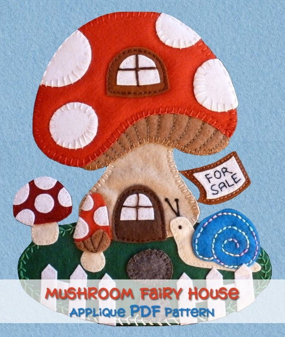 Mushroom House Applique PDF Pattern