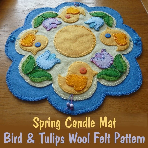 Spring Candle Mat Applique PDF Pattern