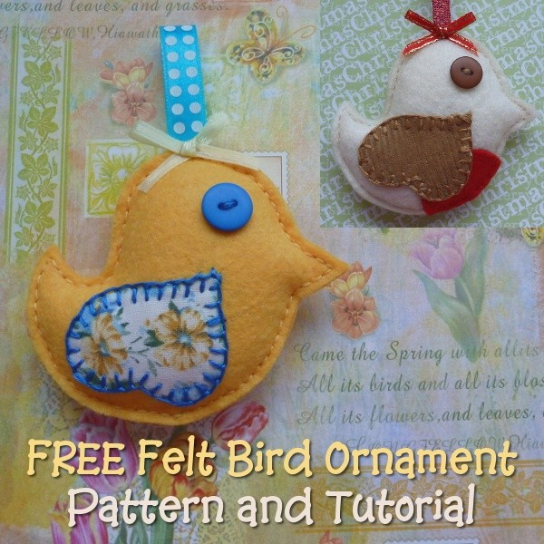 Free Felt Bird Ornament Pattern Template: Make a Songb