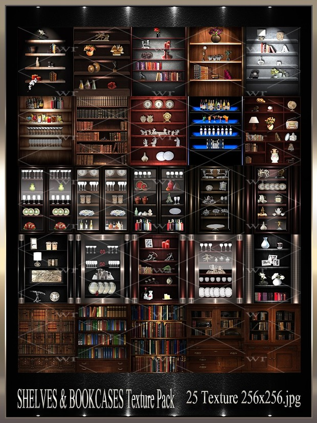 ~ SHELVES & BOOKCASES IMVU TEXTURE PACK ~