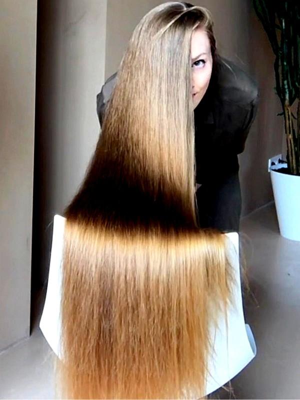 VIDEO - Super shiny long hair on a chair