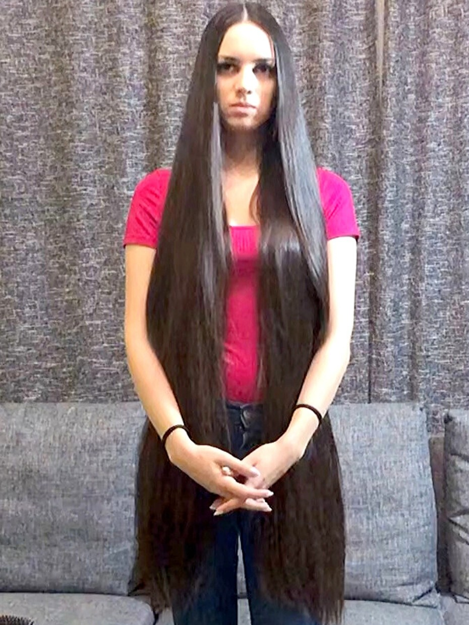 VIDEO - Long, silky, high ponytail and pigtails