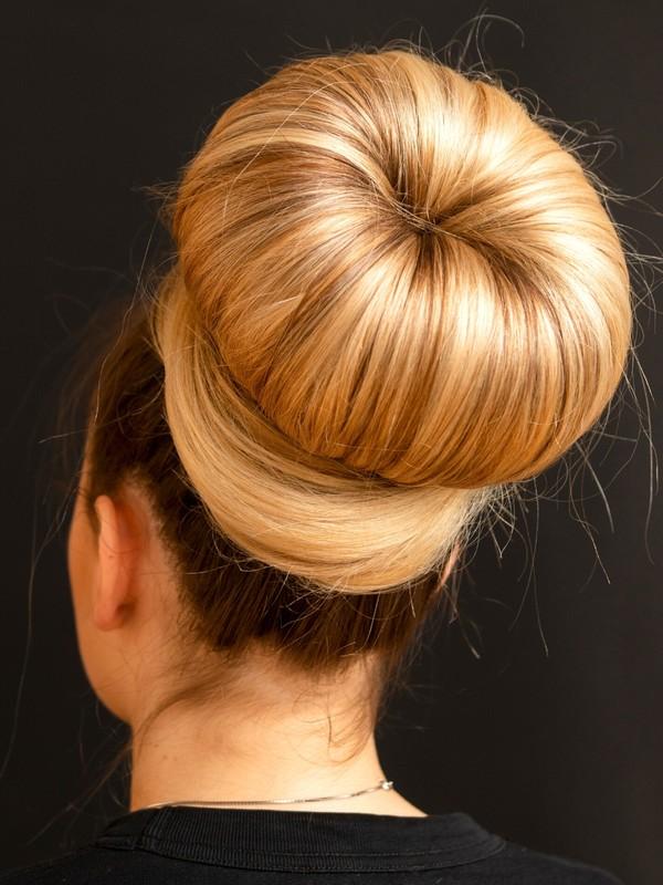 PHOTO SET - Huge blonde donut bun photoshoot