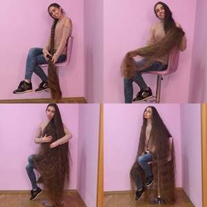 VIDEO - Super thick floor length hair play in the pink chair