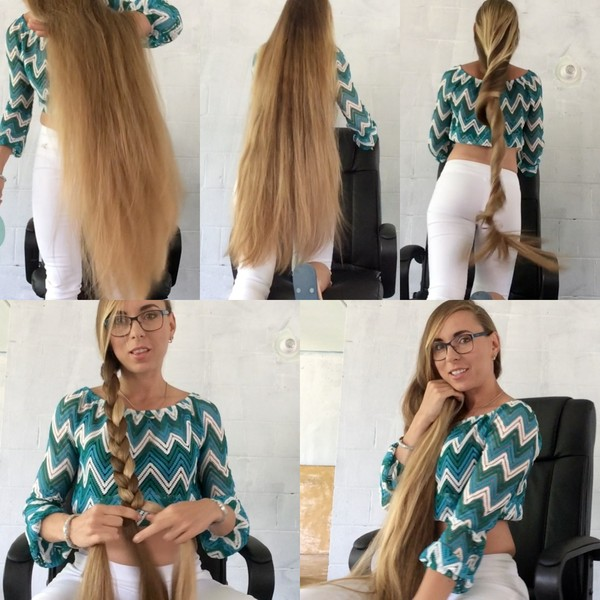 VIDEO - Amazing knee length hair play