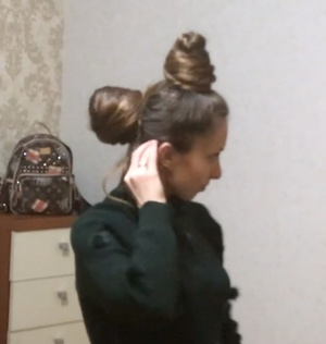 VIDEO - Very large double buns (front and back)