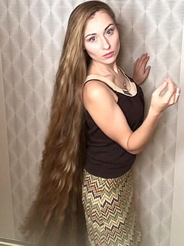 PHONE VIDEO - Super shiny calf length hair play, braid and braided buns