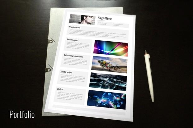 CV, cover letter, portfolio template