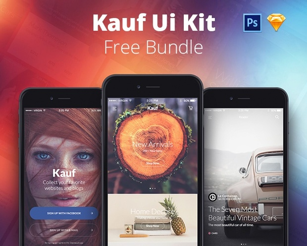 FREE Kauf UI Kit Bundle Lite - Sketch & Photoshop - Yebo