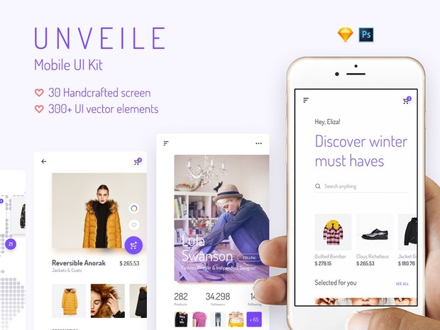 Unveile iOS UI Kit Bundle for Sketch & Photoshop - by Yebo