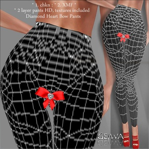 Diamond Heart bow pants IMVU MESH & TEXTURE