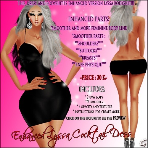 Enhanced Lyssa Cocktail Dress Full Pack IMVU MESH