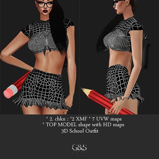 TOP MODEL shape 3D School Outfit Full Pack IMVU MESH