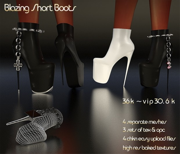 Blazing Short Boots Full Pack IMVU MESH