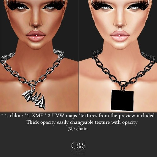 3D Chained Necklace IMVU MESH & TEXTURE