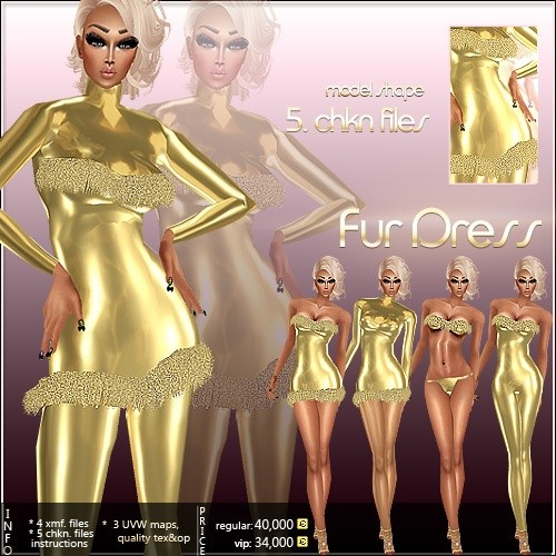 Fur Dress Outfit Full Pack IMVU MESH