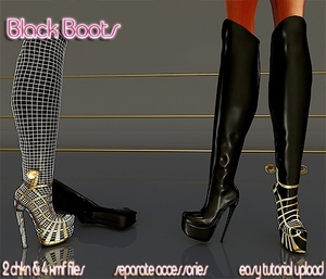 Black Boots Full pack IMVU MESH