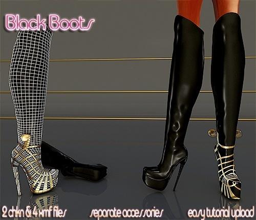 Black Boots Full pack IMVU MESH