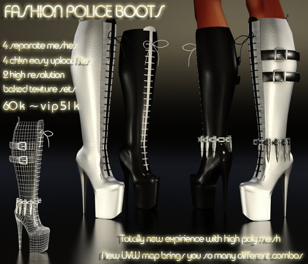 Fashion Police Boots Full Pack IMVU MESH