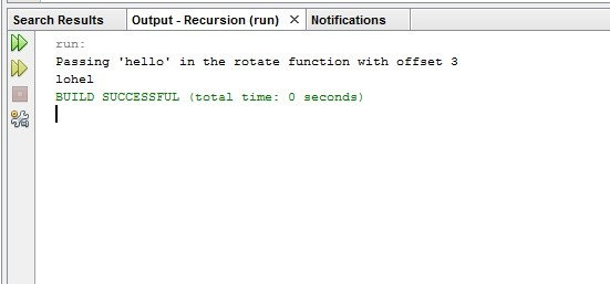 Rotating string using recursion and printing data using recurstion in java with source code