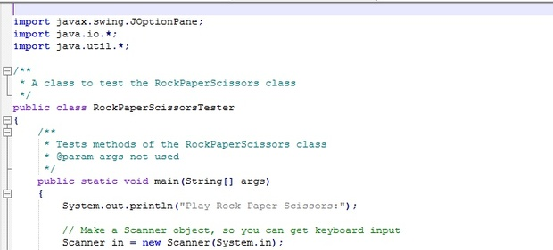 Extra Credit Assignment 1: Rock – Paper – Scissors Java Implementation