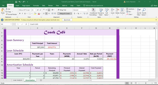 Coach Café Excel Project Download Now