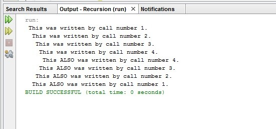 Recursively printing data in java full source code with output screenshot of running program