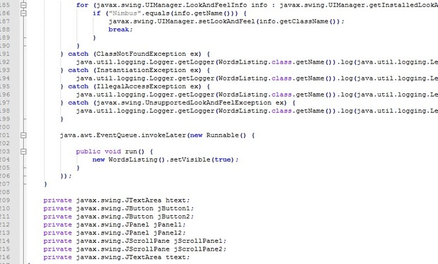 Hash Map and Tree Map for words listing from .txt file using Java GUI CSCI 212 – Project 4