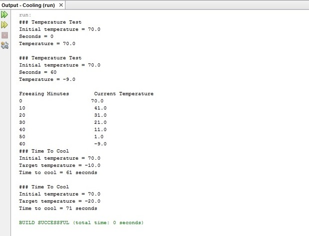 Cooling/Freezing Temperature Program in Java source code