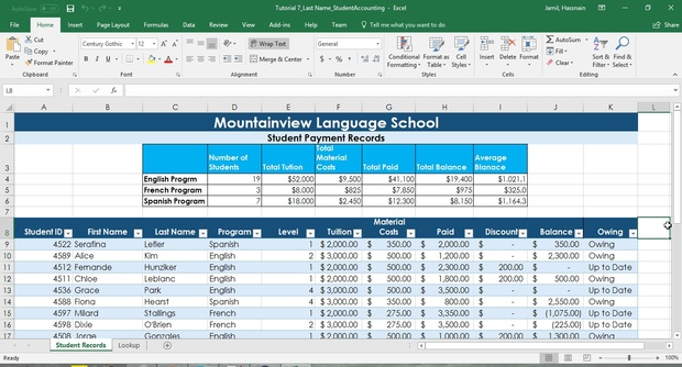 Mountainview Language School - Students Payment Analysis Excel Project Download Now
