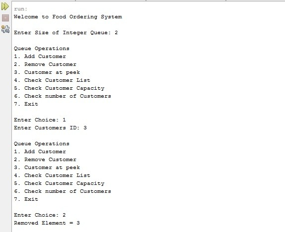 Food Ordering System project in Java using Queue Data Structure