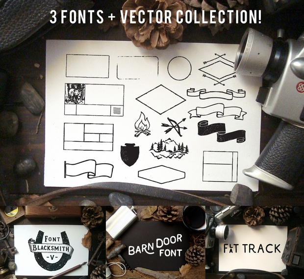 3 Vintage fonts + Vector collection