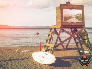 Billboard on the Beach Mockup (PSD)