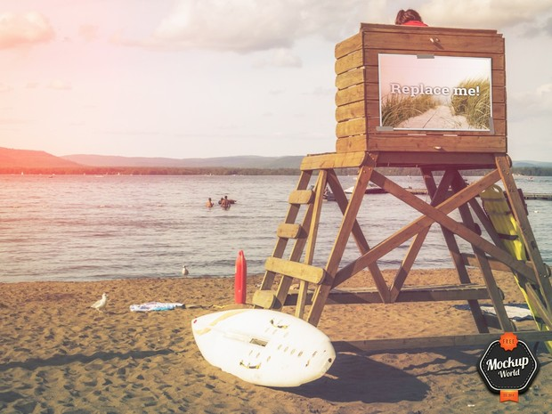 Billboard on the Beach Mockup (PSD)