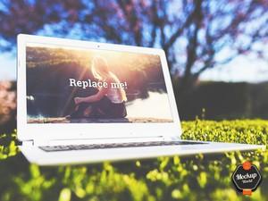 Laptop on the Grass Mockup (PSD)