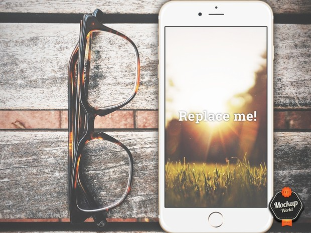 Glasses and iPhone 6 Plus Mockup (PSD)