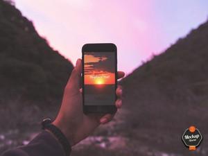 iPhone at Sunset Mockup (PSD)