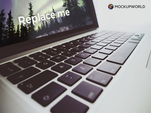 MacBook in close view Mockup (PSD)