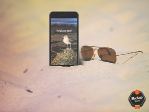 iPhone on the Beach Mockup (PSD)