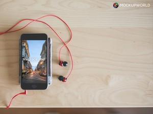 iPhone with Earphones Mockup (PSD)