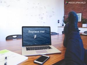 Office Break with MacBook on Desk Mockup (PSD)