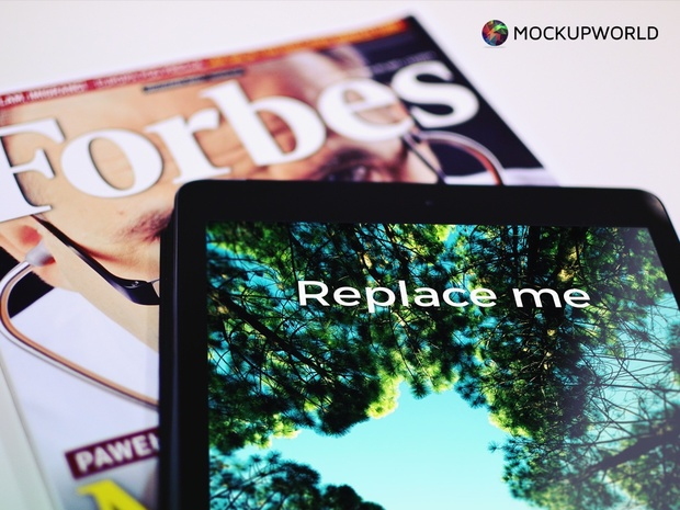 iPad and Forbes Magazine Mockup (PSD)