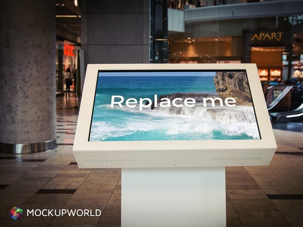 Welcome Screen in Shopping Mall Mockup (PSD)