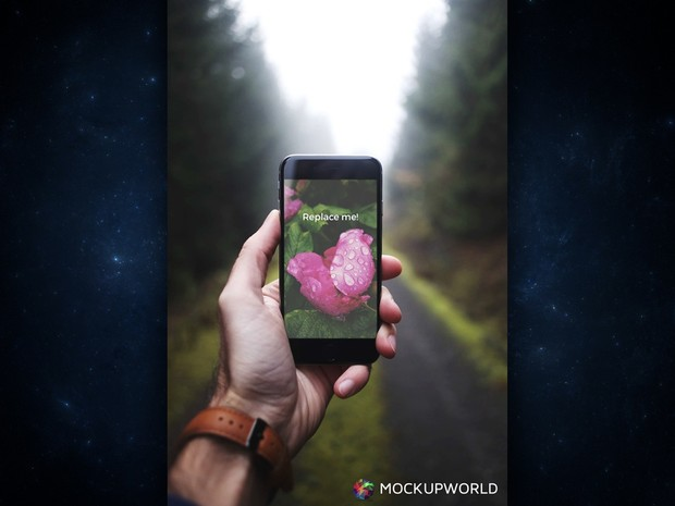 iPhone 6 in the Woods Mockup (PSD)