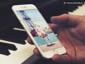 iPhone & Piano Mockup (PSD)