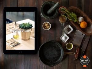 iPad in Kitchen Mockup (PSD)