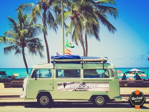 Flower Power Bus at the Beach Mockup (PSD)